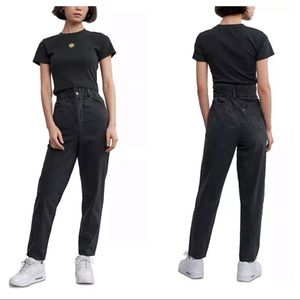 Levi's High Waist Tapered Paperbag Jeans Black W28